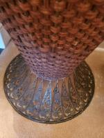 "A pair of wicker type baskets, 1 is actually an urn that is 40"" tall and has a metal top, the other is 10"" tall, 16 x 13 - 3"