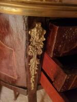 "A 3-drawer antique nightstands adorned with brass, it's 22"" tall, the top is oval and 17 x 13 - 7"