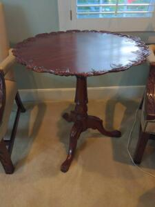 Antique hand carved pedestal table with clawfoot base
