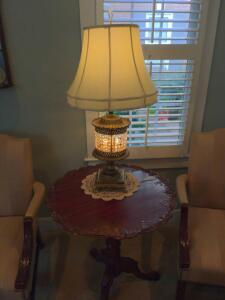 Stunning antique brass side table lamp with one and shade