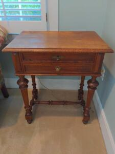 Antique two drawer side table (contents not included)