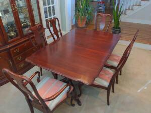 Dining room set with eight chairs - 6 side chairs / 2 arm chairs