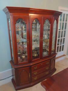 Large china cabinet with four shelves three drawers in storage (contents not included)