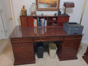 Solid wood office desk with removable hutch (contents not included)