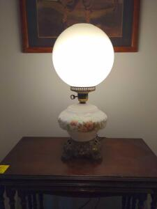 Antique glass and brass table lamp