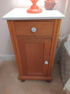 Antique, solid wood, handcrafted nightstand with marble