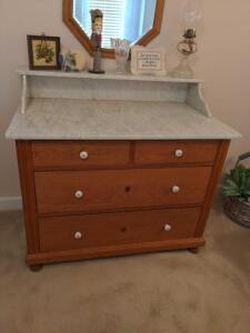 Antique, solid wood, five drawer dresser with marble top (contents on/in not included)