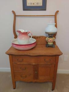 Antique, solid wood dry sink with towel bar