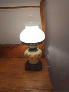 Antique glass over glass table lamp