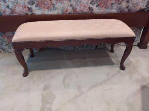 Solid wood sitting bench with upholstered padded top