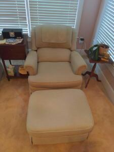 Upholstered reclining/brake back club chair with ottoman
