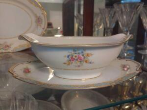 Sango China Gravy Boat with attached service tray