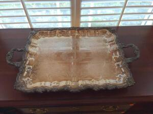 Vintage footed silver plated serving tray
