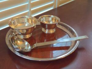 Mid-century modern silver plated serving pieces