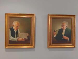 Pair of oil on canvas signed framed portraits