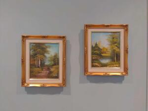 Pair of oil on canvas forest paintings