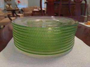 Collection of 10 green glass salad plates