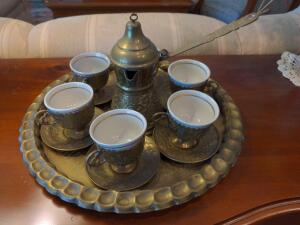 Vintage, authentic Turkish coffee service for 6