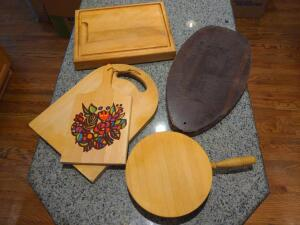 Collection of wooden cutting boards / charcuterie board / serving boards