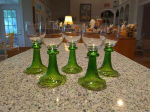 Set a five antique German wine glasses
