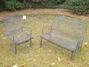 Wrought Iron 2 person Seatee and chair w cushion