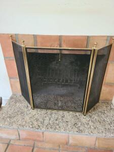 Brass and mesh fireplace screen