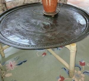 Unique coffee table round brass tray top on wooden base
