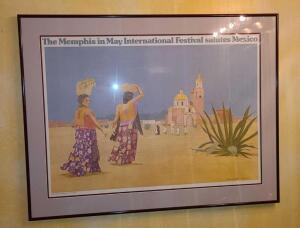 "Memphis in May Mexico framed poster 25"" x 32.5 """