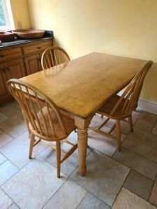 "Lovely Farm table 4 chairs solid wood 30"" h x 60"" l x 36"" w"