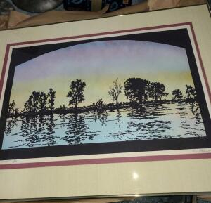 River Sunset signed and numbered framed lithograph