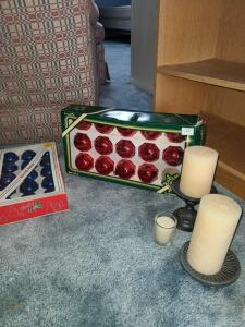 Christmas lot Vintage Glass balls, candles