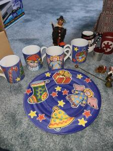 Christmas lot mugs, plates and more