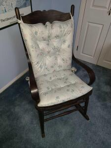 "Wooden rocking chair w cushions 42"" back x 17"" wide"