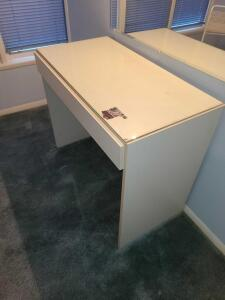 "White desk/vanity/make up table w glass top 30"" x 36"" x 19"" 1 drawer"