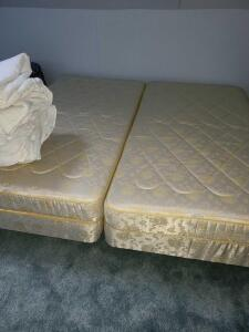 King size bed 2 twin box springs and mattresses on one frame