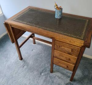 Wooden desk w leather top- antique, great shape