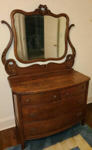 Antique Solid wood dresser w mirror handcarved