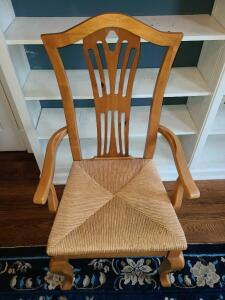 "Woiden and wicker chair 41.75"" x 23.5"" x 22"""