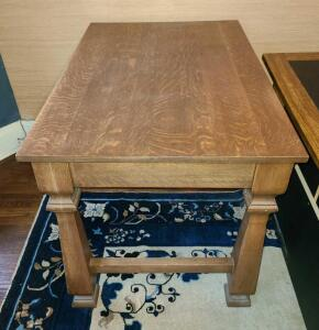 "Solid wood table 28.5"" x 44.25"" x 28"". Great condition!"