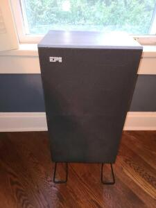 Pair EPI box speakers on metal stand