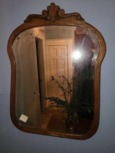 "Antique mirror wood frame 33.25"" x 24.25"""