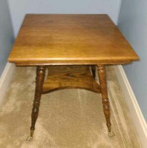 "Square antique wood table 26.25"" x 24"" x 24"""
