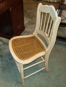 "Wood and wicker chair 32"" x 16.5 "" x 16"""