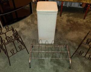 "Wicker hamper 12"" and 3 shoe racks: another wicker hamper 24"" x 12"""