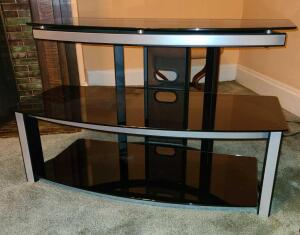 "Modern glass and metal TV stand 23.5"" x 38"" x 19"" 2 shelves"