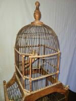 ANTIQUE BIRD CAGE W/ TWO DOORS AND PULL OUT BOTTOM - 2