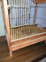 ANTIQUE BIRD CAGE W/ TWO DOORS AND PULL OUT BOTTOM - 3