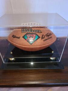 NFL FOOTBALL IN NICE DISPLAY CASE. PAUL TAGLIABUE SIGNATURE. FADED BY SUN ON ONE SIDE.