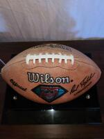 NFL FOOTBALL IN NICE DISPLAY CASE. PAUL TAGLIABUE SIGNATURE. FADED BY SUN ON ONE SIDE. - 2