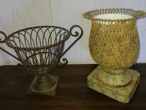 "2 METAL PLANTERS W/ BASE. METAL W/ HANDLES 10.5"" TALL X 16"" WIDE, BASE 5.25"". URN VASE 14"" TALL"
